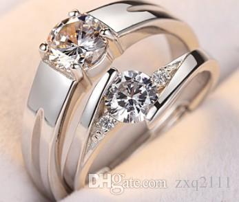 European American new fashion elegant jewelry adjustable 925 silver diamond lovers wedding ring souvenir birthday festival gift