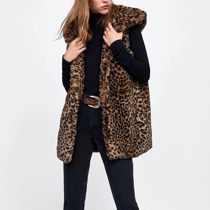 Gilet lungo in leopardo delle donne in pelliccia sintetica Gilet lungo in leopardo stampato in pelliccia per le donne