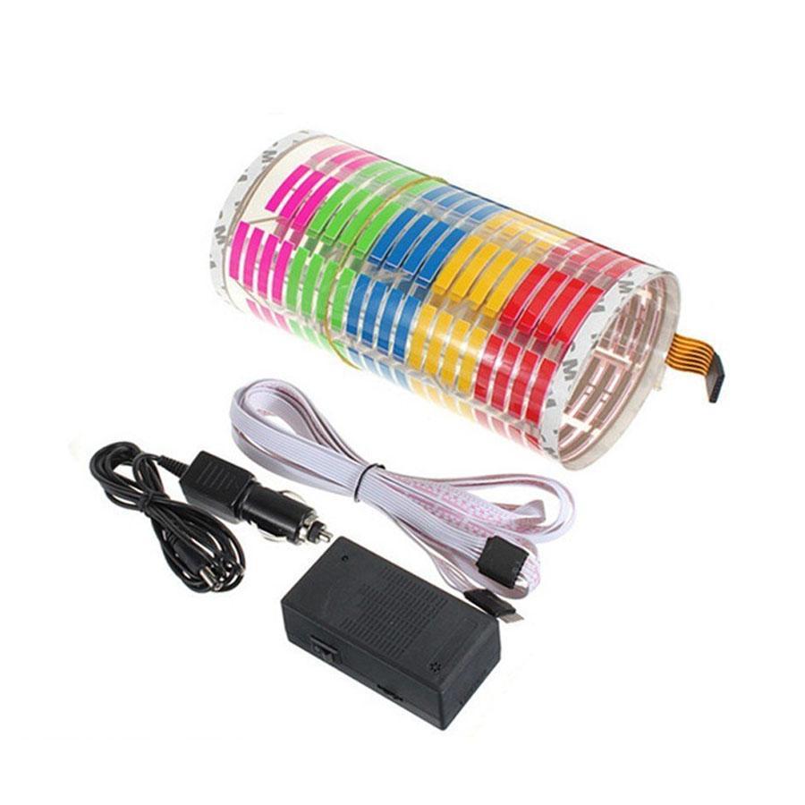 자동차 스티커 음악 리듬 LED 플래시 라이트 램프 사운드 활성화 이퀄라이저 12V 45x11cm 자동차 분위기