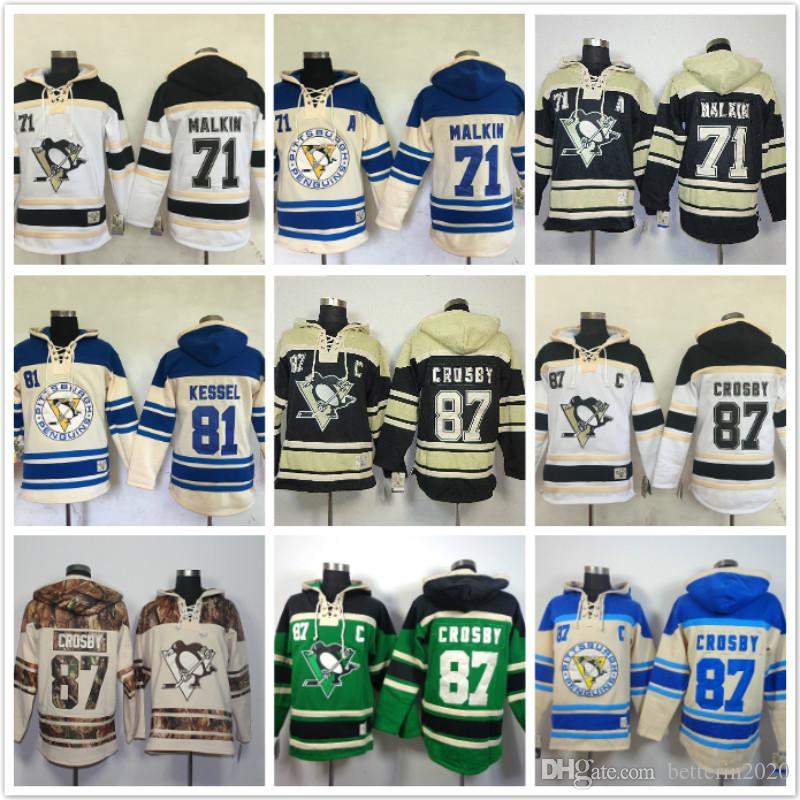 Pittsburgh Evgeni Malkin hoodies 71 81 Phil Kessel 87 Sidney Crosby Hockey sur glace Sweat à capuche wihte vert blanc