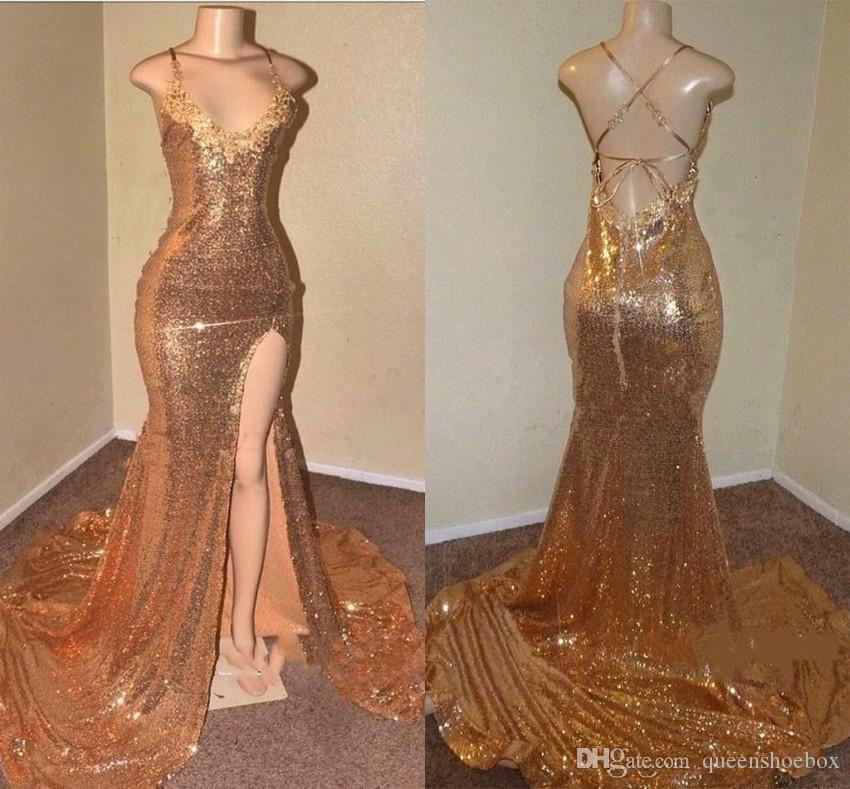 Sparkly Gold Sequin Mermaid Prom Dresses 2019 New Sexy Criss Cross Backless Spaghetti Straps Front Split Long Evening Gowns Reflective Dress