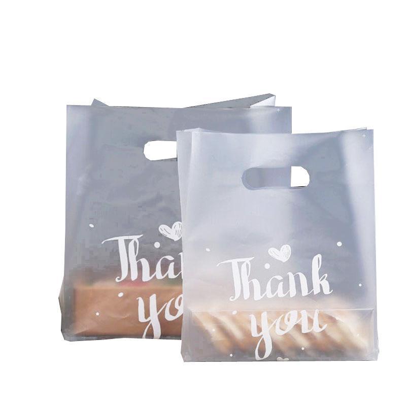 Danken Ihnen Kunststoff-Geschenk-Beutel Brotaufbewahrung Einkaufstasche mit Griff Party Hochzeit Kunststoff Süßigkeit Kuchen Verpackung Beutel WB2177