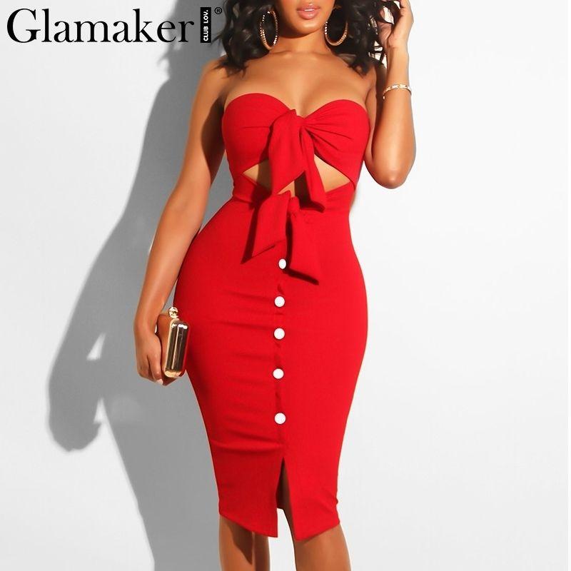 Glamaker Sans Bretelles Creux De L'été Sexy Femmes Rouge Moulante Split Midi Partie Élégant Noir Club Bouton Casual Dress MX190727 MX190801