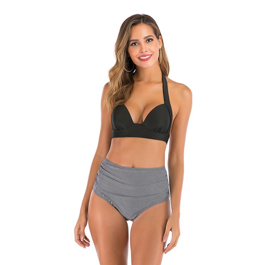Мода Плюс Размер Двух- 1Pcs купальник Женщины Push Up бикини Set Sexy Полосатый Лоскутная Женщины Пляжная Купальники Большой размер # 328