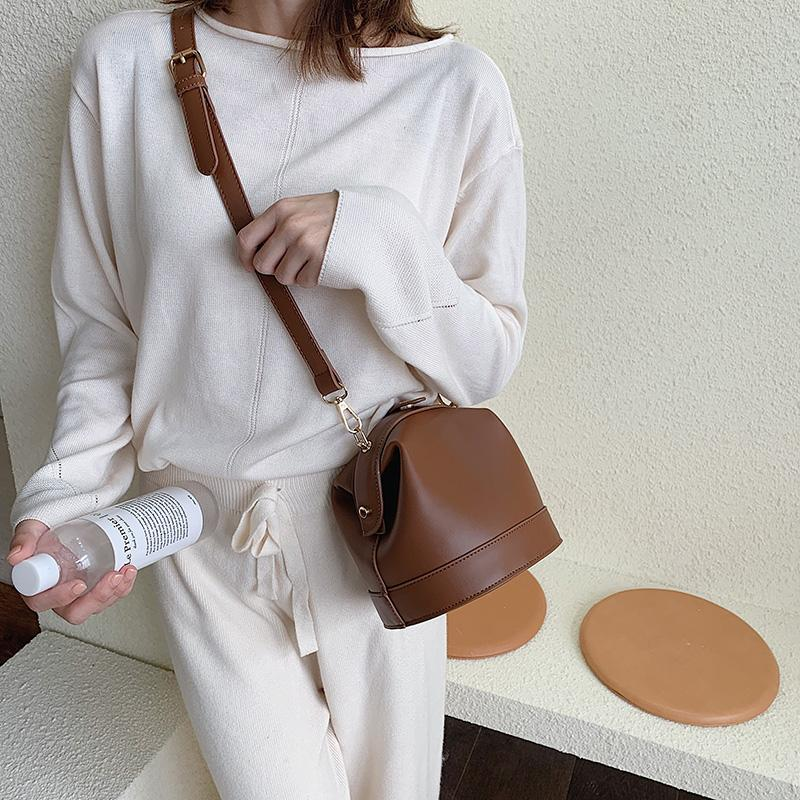 Tote PU Bloqueio de qualidade Bucket Mulheres 2021 Couro Vintage Moda Saco Alto Bolsa Bolsa De Mensageiro Mensageiro Feminino Uxloa