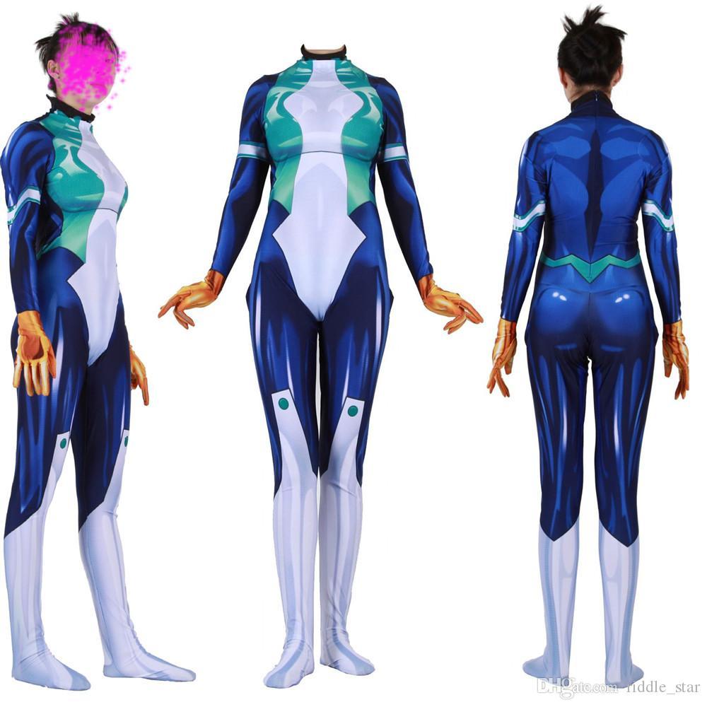 الحجم آسيا منتديات أكاديميتي للأبطال المرأة Nejire حدو حزب 3D حلي Zentai لسترة القفز المطاط catsuit BODYSUIT