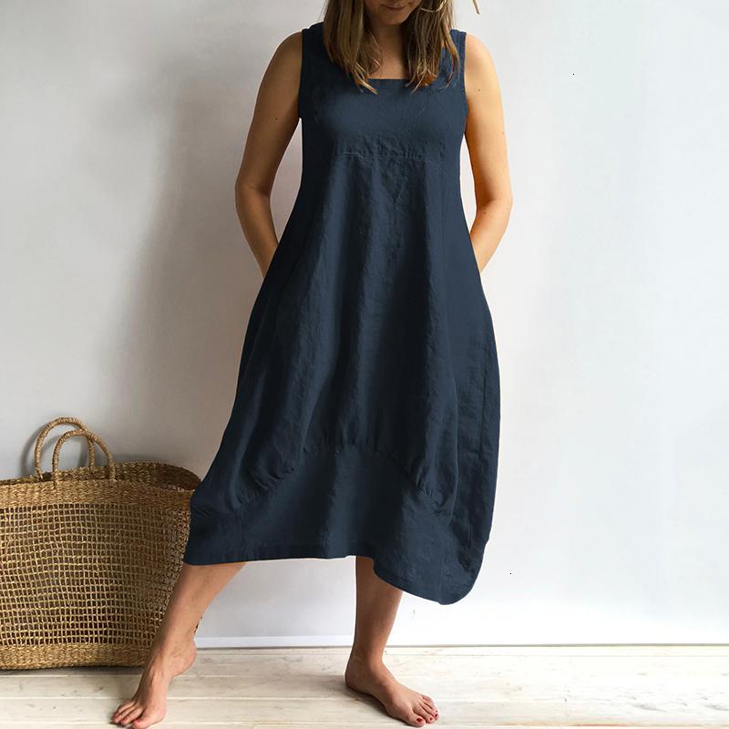 Femmes Robes Designer Robe femmes Robe sans manches 2019 Vonda été cou mi-mollet Coton Robes Casual Taille en vrac plus Vestidos