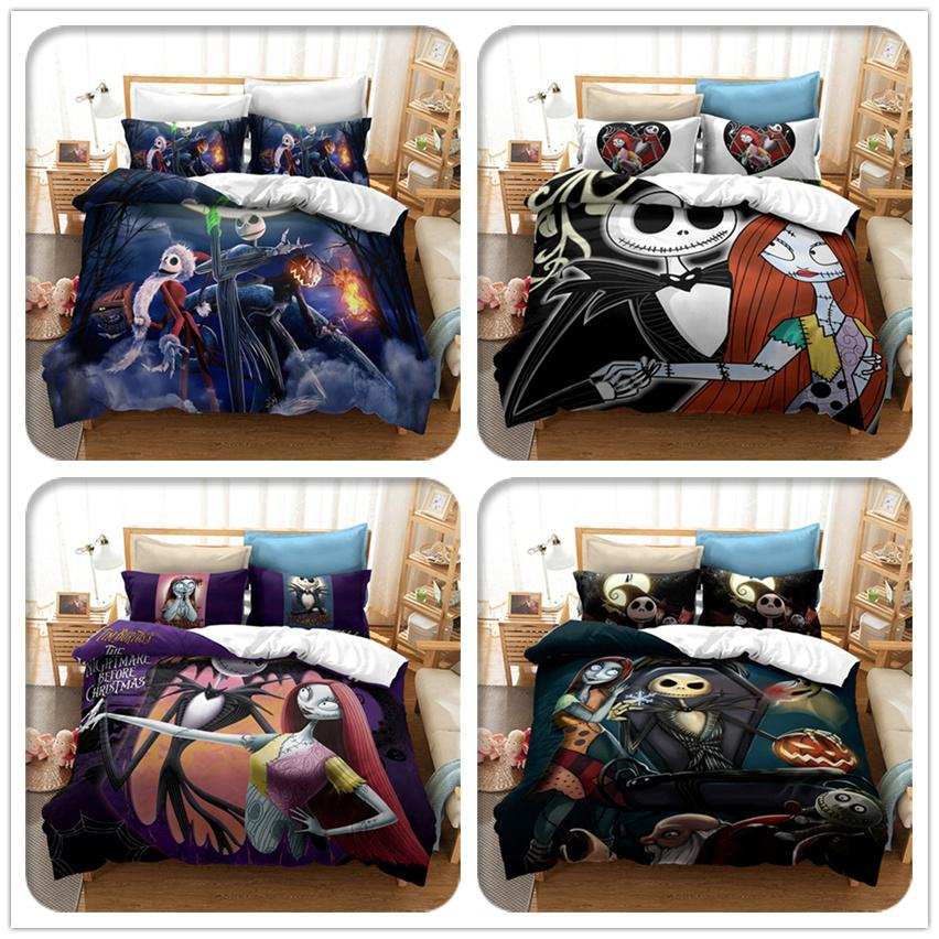 Cartoon 3D Printing Skull Jack and Sally The Nightmare Before Christmas Bedding Sets Classic Duvet Cover Bed Cover with Pillowcase N-1