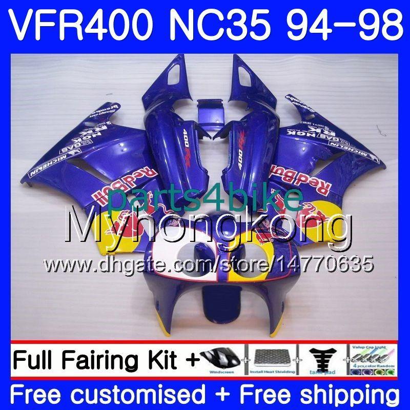 Kit para HONDA amarillo rojo stock RVF400R V4 VFR400R 1994 1995 1996 1997 1998 270HM.46 VFR400 RVF VFR 400 R NC35 VFR 400R 94 9596 97 98 Carenado