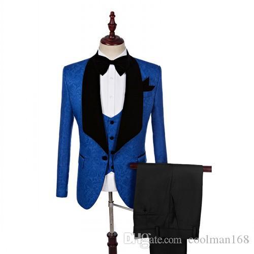 Смокинги для жениха с тиснением Royal Blue Groomsmen Свадебное платье Черная мужская куртка с отворотом Блейзер Ужин Костюм из 3-х частей (куртка + брюки + жилет + галстук) 1286