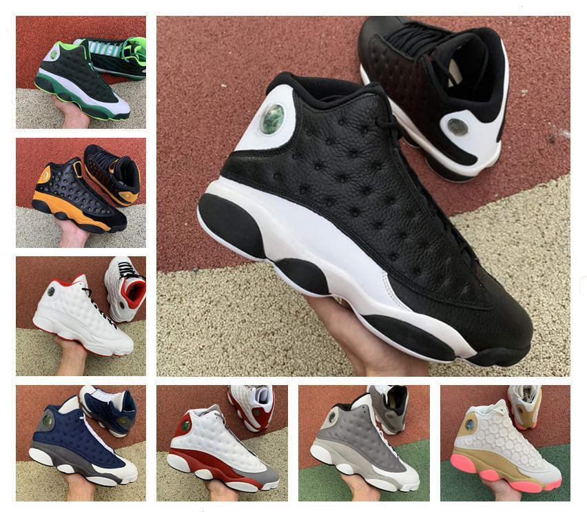 13 barato Flint Bred Chicago y verde trébol verde del patio Aurora baloncesto de los hombres zapatos 13s inversa Una mala jugada Melo DMP zapatillas de deporte con la caja