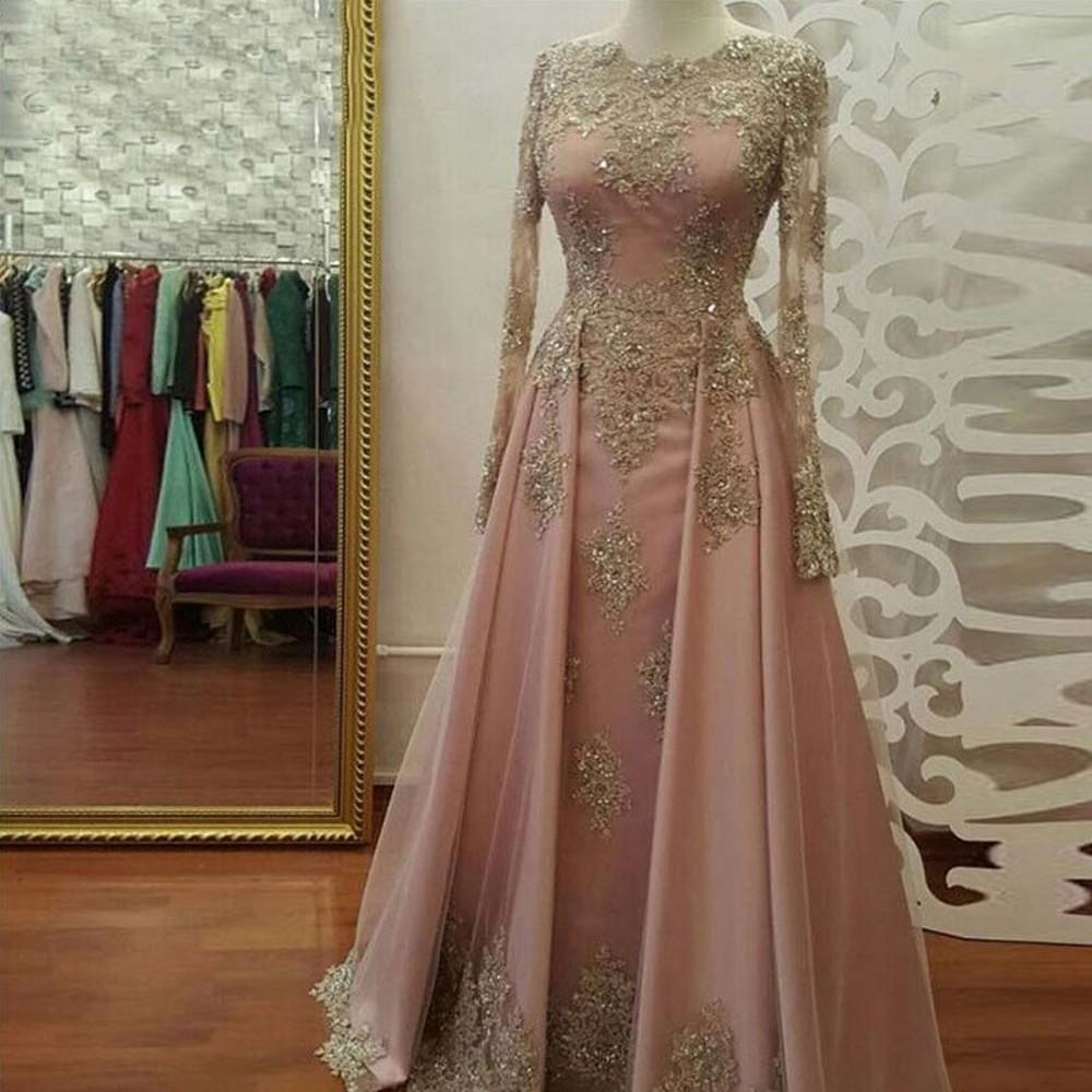 2020 Plus Size Long Muslim Arabic Evening Pink Prom Ball Gown Dresses Gowns Sexy Elegant Woman Formal Party Dress