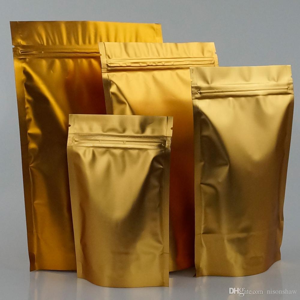 100 pz / lotto, 14 * 22 cm Stand up opaco foglio di alluminio dorato sacchetto a chiusura lampo, cerniera riapertura sacchetto di imballaggio di plastica resistente all'umidità, sacchetto di popcorn