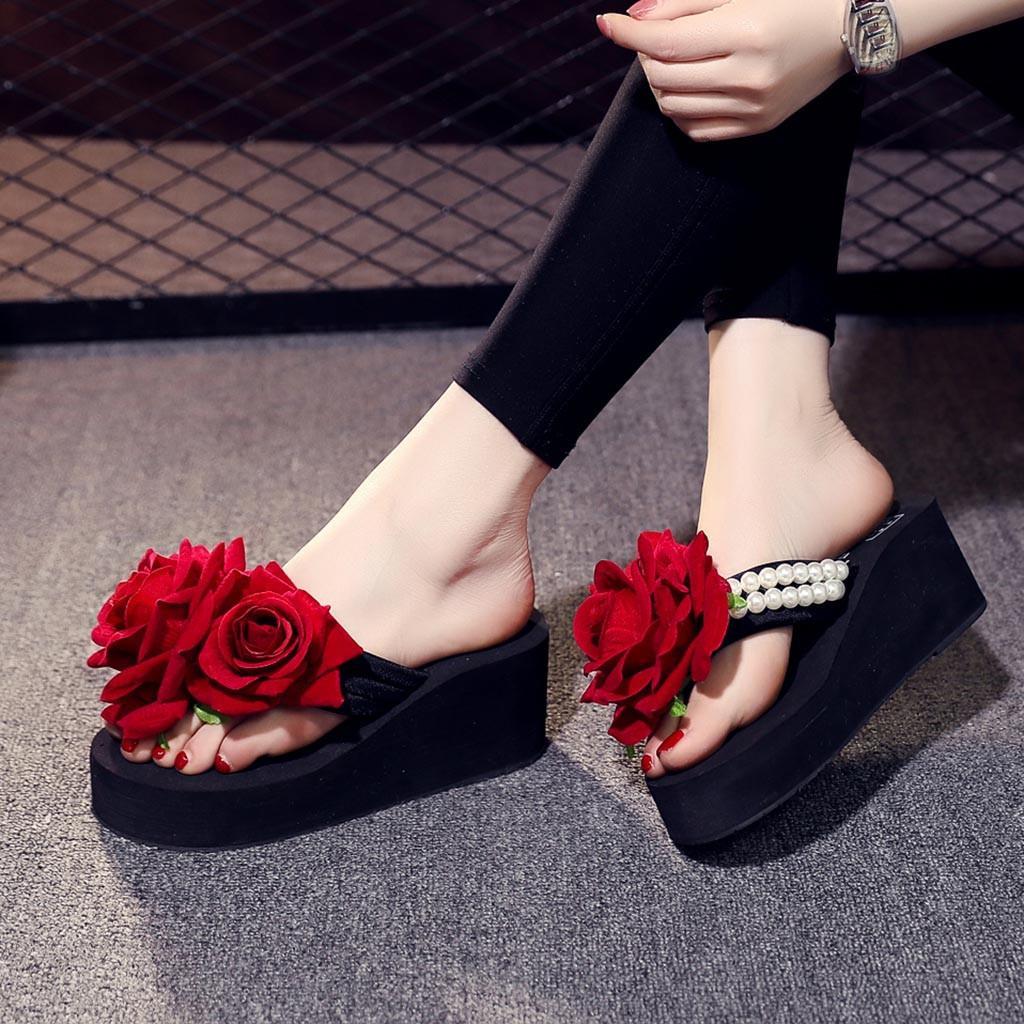 2019 YENİ Flip Bayanlar Kızlar İnci Çiçek takozları Flop'lar Sandalet Terlik Plaj Ayakkabı çevirin pantoufles femme @ A20 flop womens