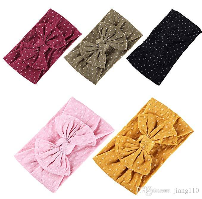 Super Soft Nylon Headbands Baby Girl Hair Accessories Knot Hair Bow Soft band Wholesale 13 Colors European Cute Wide head band Boutique 2019