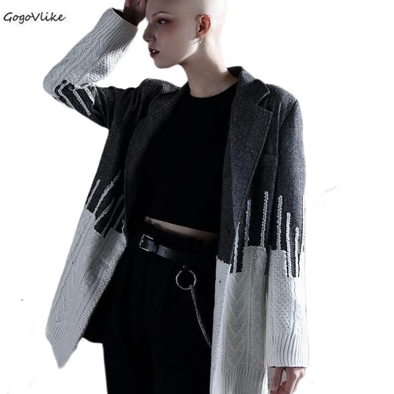 Suit Grande Casual Tamanho do cinza Mulheres Knit Patchwork 2020 Jacket Primavera estilo britânico das senhoras na moda Escritório Blazer LT979S30