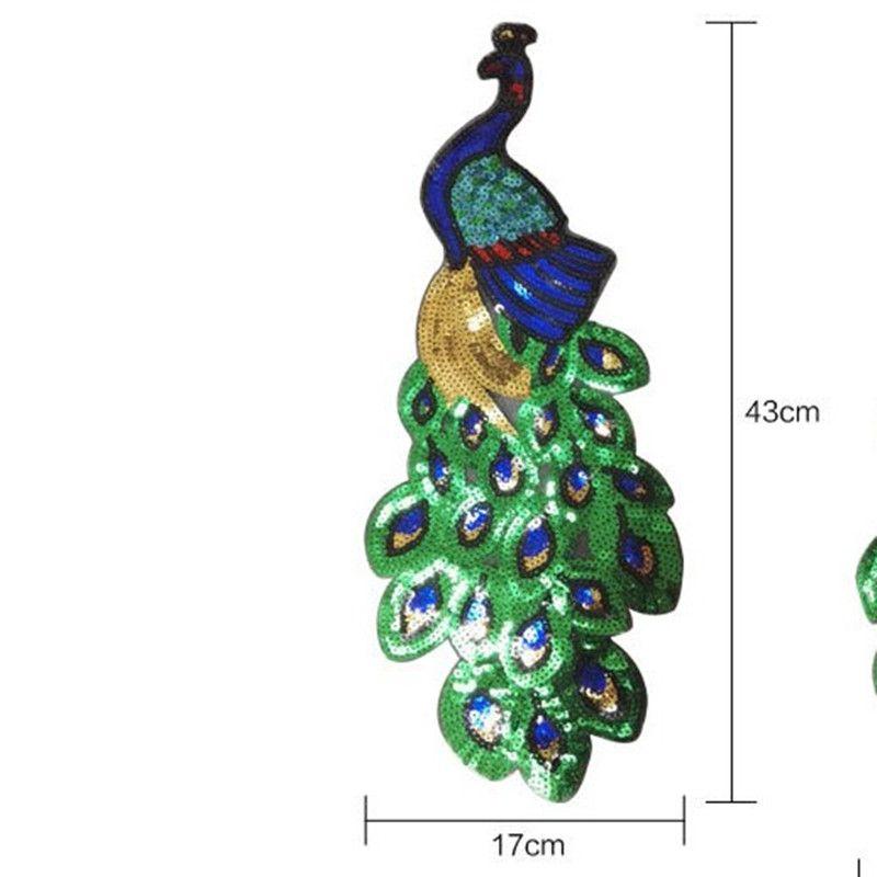 5pcs bunter Sequin Pfau-Stickerei Stoff Große Applique-Flecken-afrikanische Spitze Eisen auf Kleid Tuch Dekorieren Zubehör Diy