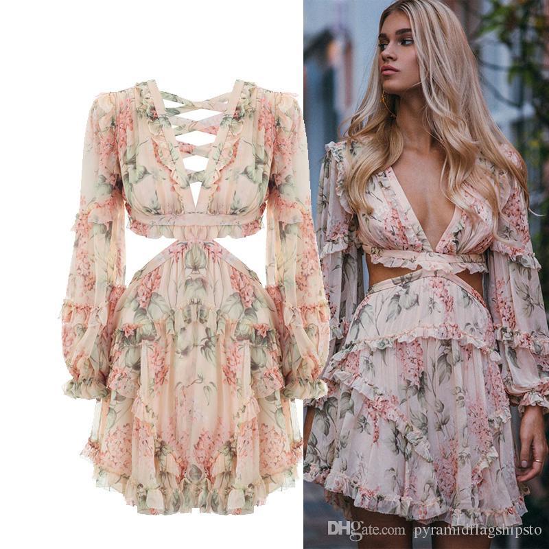 Mode Rosa Designer Runway Dress Damen Aushöhlen Rüschen Blumendruck Chiffon Minikleid Sexy Backless Tiefem V-Ausschnitt