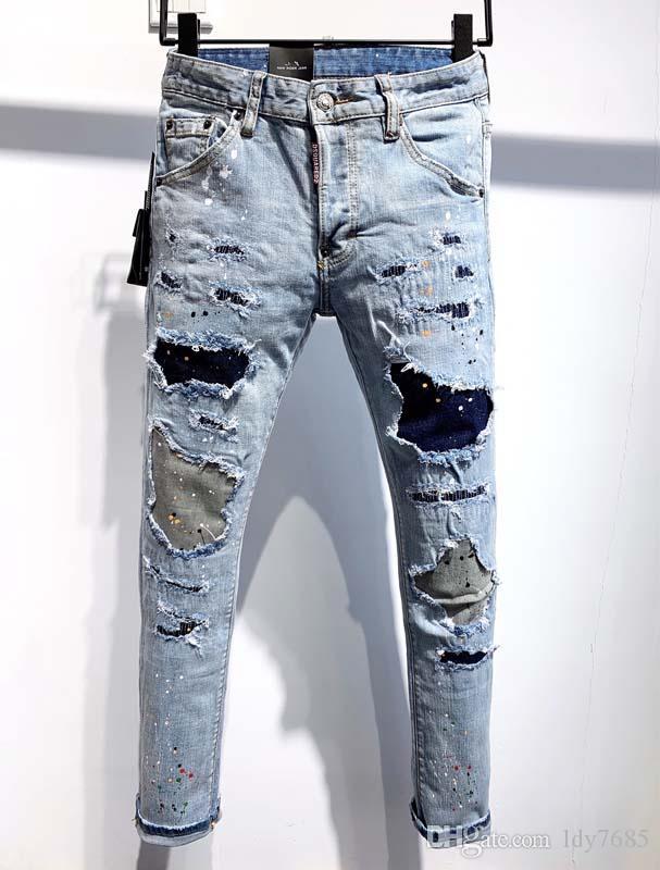2020ss homens europeus e americanos fazem velho jeans slim versão motocicleta motocicleta denim, homens homens do desenhista de moda casual jeans km
