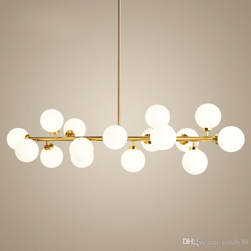 Sospensione industriale del vento del retro metallo Lampadario LED vetro bianco molecolare della lampada per il salone Bar Casa del deposito Illuminazione PA0055