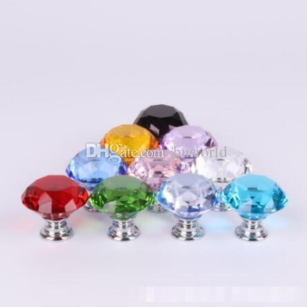 30mm en cristal de diamant porte en verre Boutons de tiroir Meubles Poignée Bouton Vis Accessoires Meubles