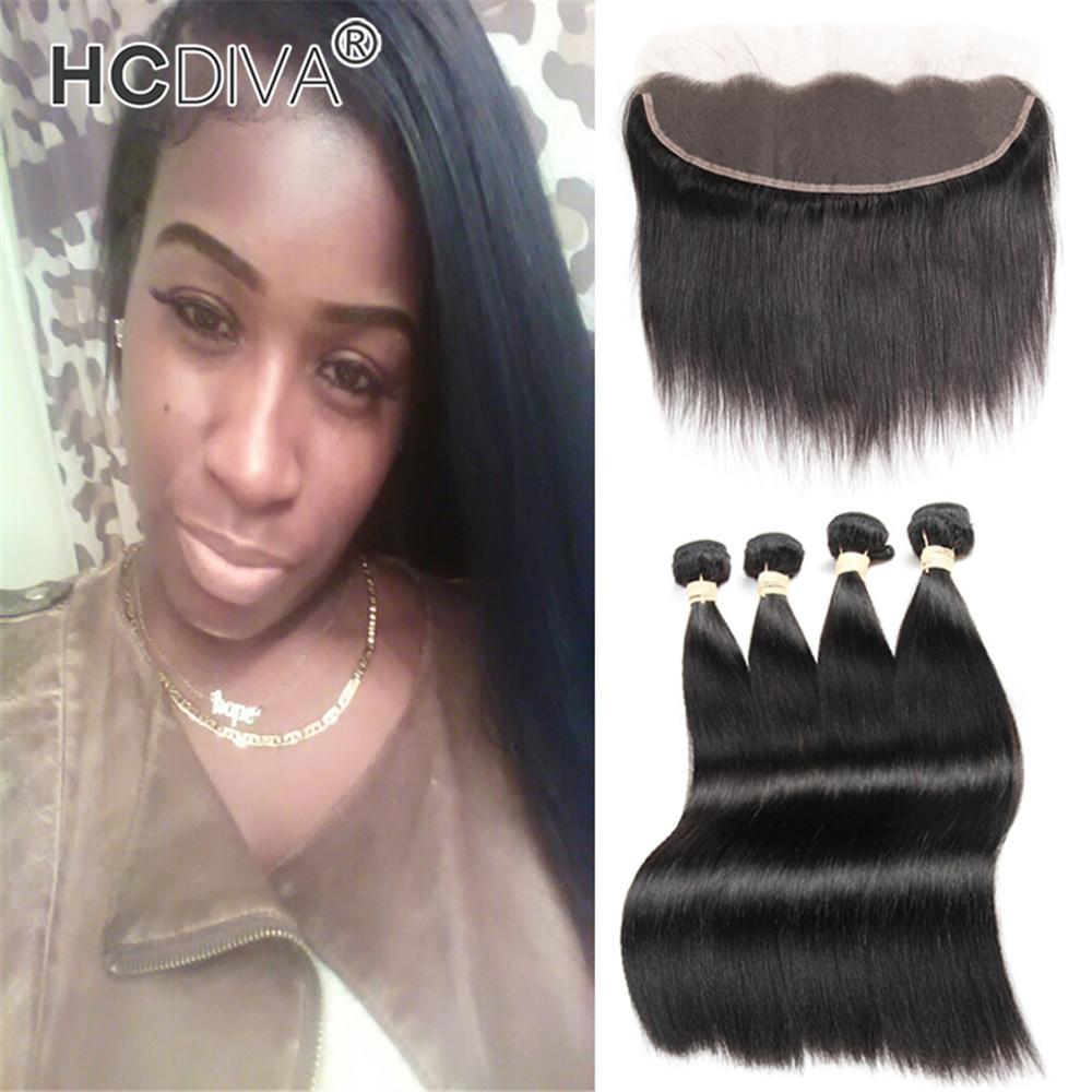 Brasilianische Gerade Bündel 4 Bündel mit Spitze Frontal Unverarbeitet Rohmaterial Haare Indische Peruanische brasilianische menschliche Haarbündel für Großhandel