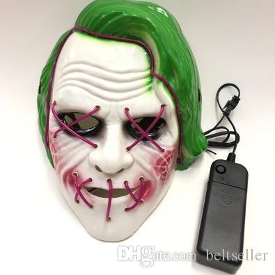 LED-Maske Glow Halloween Masken Fluorescent Film Clown Glowings Maske mit Blut Horror Thriller LED Light Mask