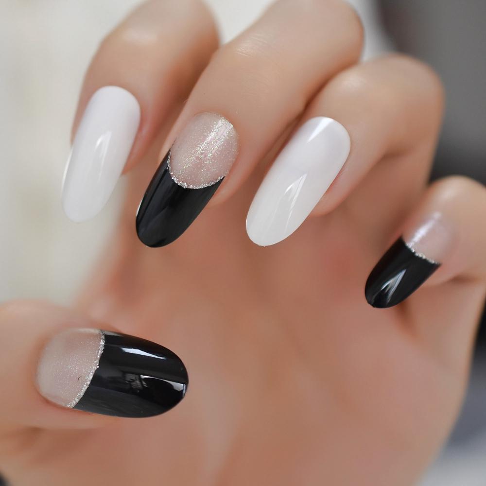Nero falso francese Nails Cancella capovolge con glitter ovale lungo Premere On Chiodi con linguette adesive 24 PCS