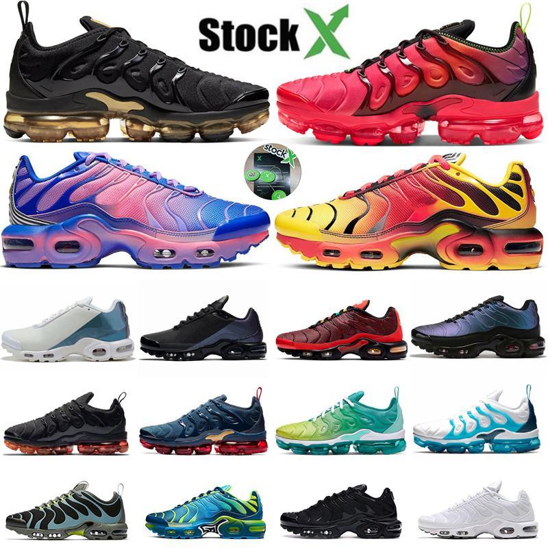 2020 Nuevo láser carmesí TN Plus para hombre zapatos corrientes Triple Gradiente Paquete Chorome Midnight Navy Deportes zapatillas de deporte Hommes Formadores Tamaño 7-11