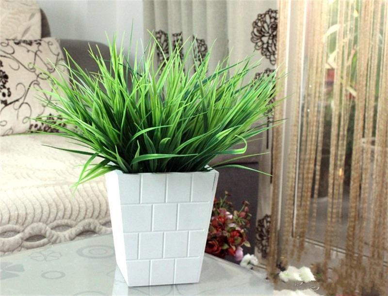 7 Fork Spring Grass Green Artificial Leaf Plastic Simulation Foliage plant For Wedding Decorations Flower garden home Ornament