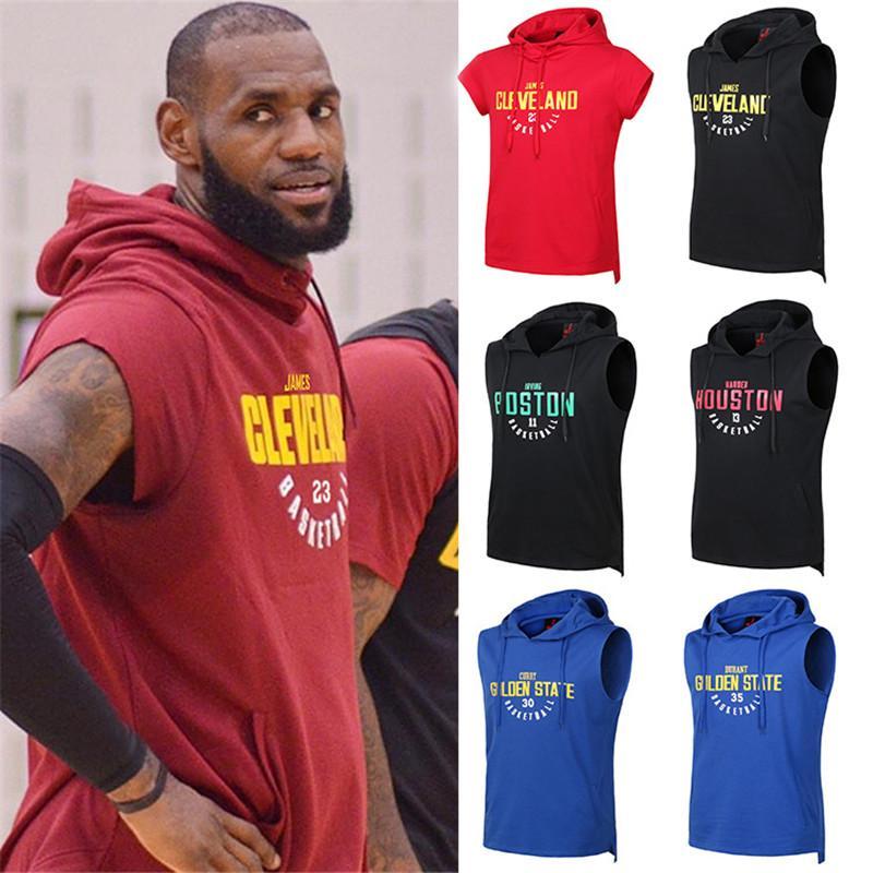 Весна Лето Мужская футболка с капюшоном Футболки для мужчин рукавов Спорт Top Тис Мужчины Обучение Рубашки баскетбольной команды и Star Print S-3XL