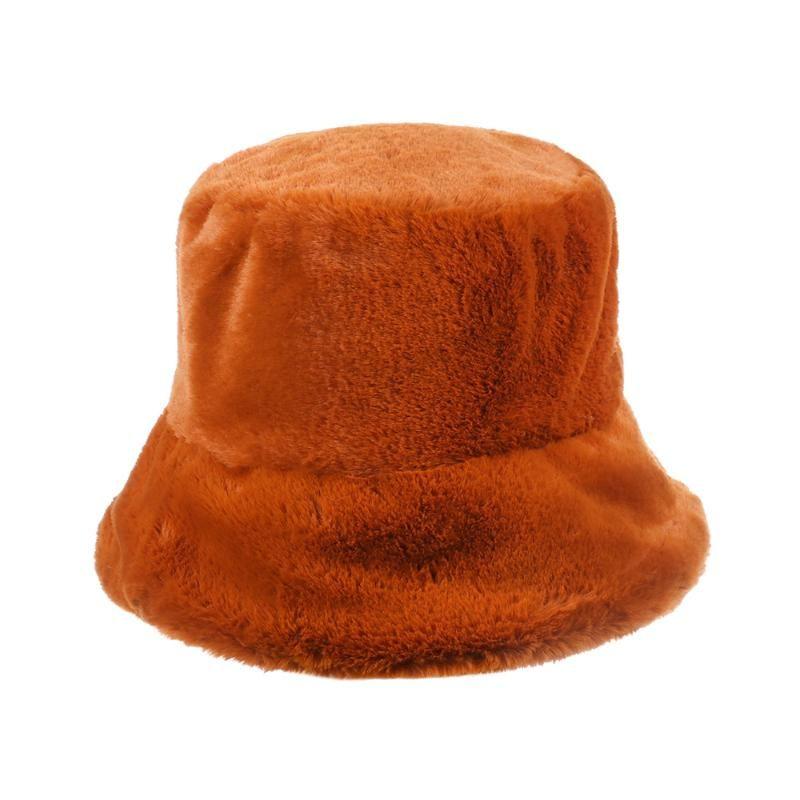 2020 جديد إمرأة فو الفراء في فصل الشتاء قبعة دلو فتاة الموضة اللون الصلبة الصيد كاب سميكة لينة دافئة القبعات عطلة في الهواء الطلق