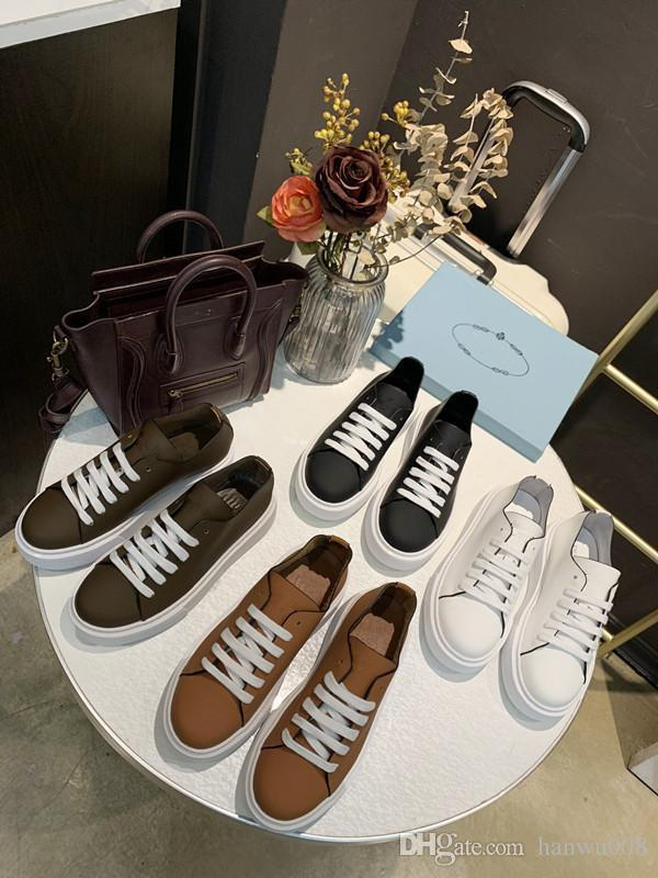 2019 New Designer Name Brand woman Casual Shoes Flat Fashion Wrinkled Leather Lace-up High Top Trainers rx190703