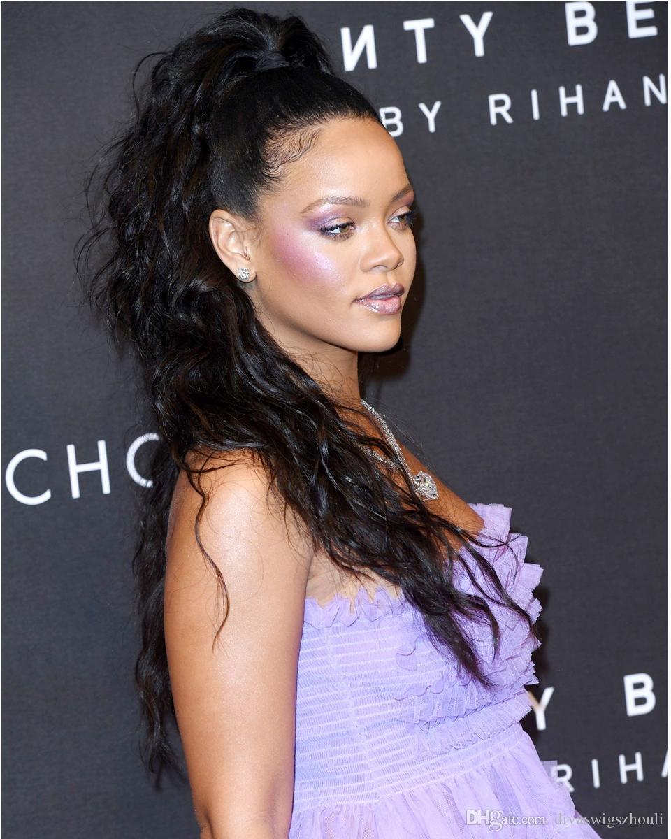 Rihanna vergine ondulata naturale dei capelli umani coulisse Coda di cavallo di estensione per le donne