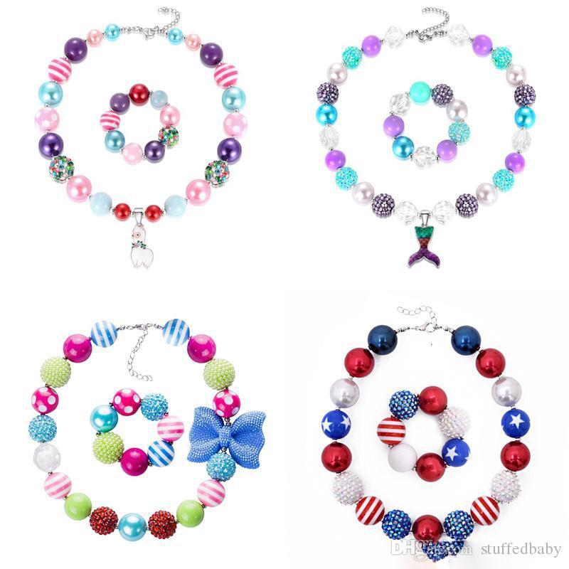 Baby Girls Necklace Sets 78 Design Girls Pendant Chunky Bead Necklace Bracelet American Flag Unicorn Diamond Toddler Party Jewelry