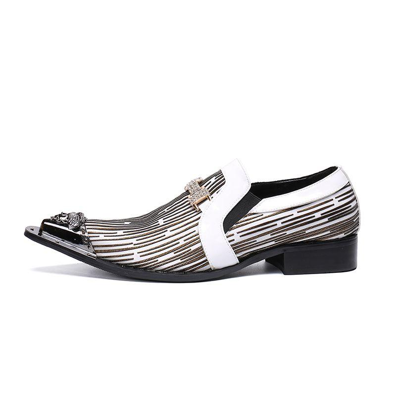 Luxus-Hochzeit Männer Kleid Schuh-echtes Leder Business Schuhe Plus Size Metall Spitzschuh Männer Formelle Schuhe