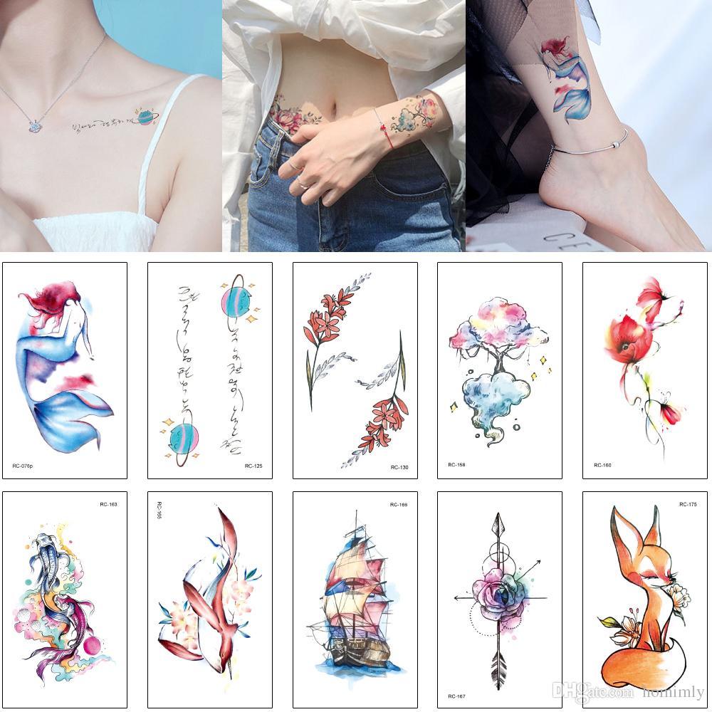 Anclas De Tatuajes Para Mujer pequeño diseño del tatuaje lindo para mujer kid impermeable tatuaje  temporal del cuerpo etiqueta engomada del arte del gato de la flor de la  sirena