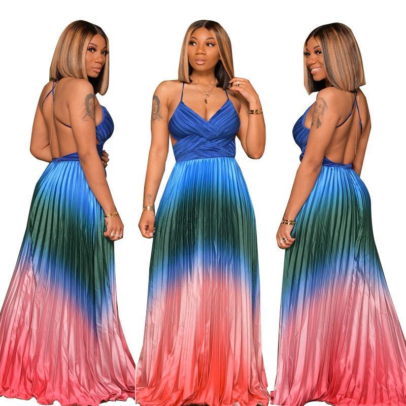 Şaşırtıcı Kadınlar Partisi Elbise Gradient Baskı Pileleri A Hattı Abiye Giyim 2020 Son V Yaka Kolsuz Kat Uzunluk Seksi dreses Backless