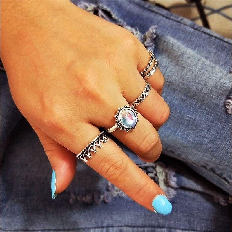 Винтаж женщин середины кольцо комплект Богемский хрусталь совместное костяшки ногтей Midi кольца набор для 5шт