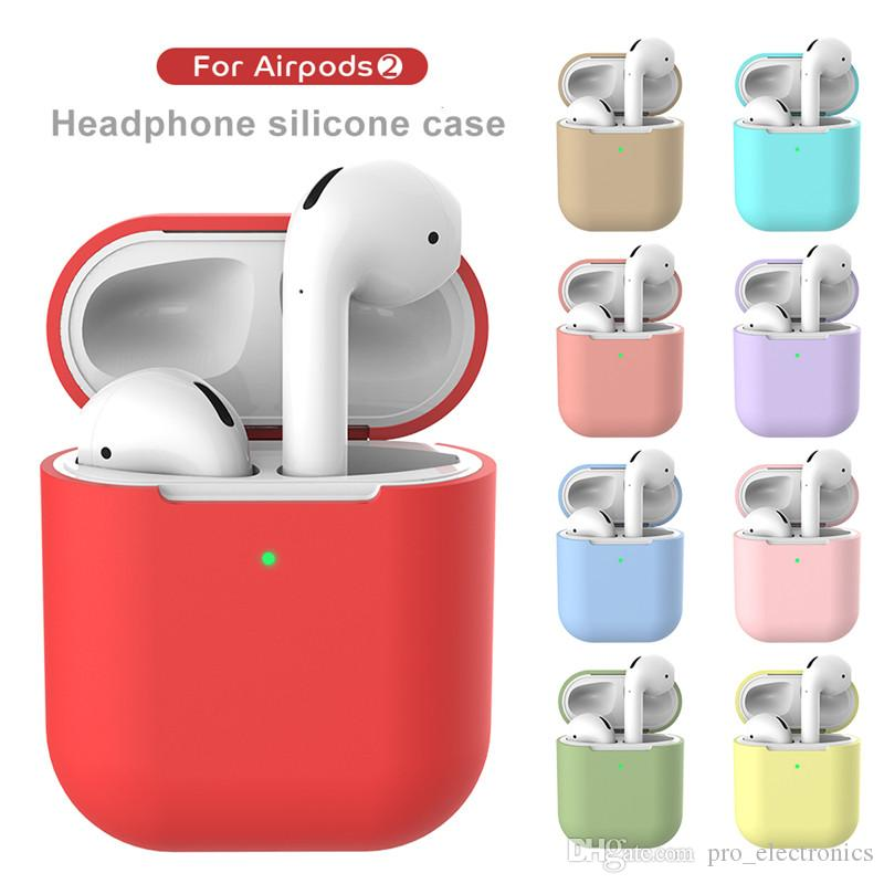14 цветов Наушники Чехол для AirPods 2 Силиконовые наушники чехол для Apple, наушники 360 градусов Защитные наушники Shell