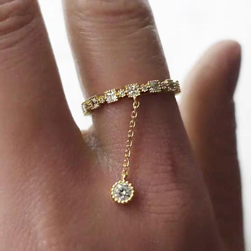 S1289 الأزياء الساخنة jewely الفردية الزركون قلادة حلقة الذهب مطلي سيدة مؤشر البنصر