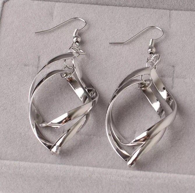 Fashion-Twisted алмазов многослойные серьги двойные кольца дамы OL классический моды супер блестящие серьги сплава серьги