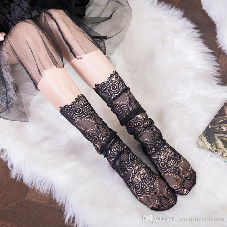 Summer Fashion Sexy Women Pricness Lace Floral Sheer Mesh Hollow Ventilation Fishnet Slim Short Stockings 2 colors