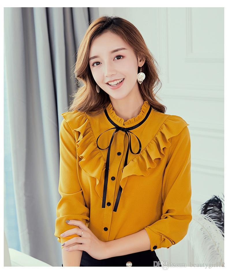 Autumn 2018 Women White Shirt Long Sleeve Shirt Korean Ruffles Women Clothing Streetwear Slim Chiffon Blouse Elegant Women Tops