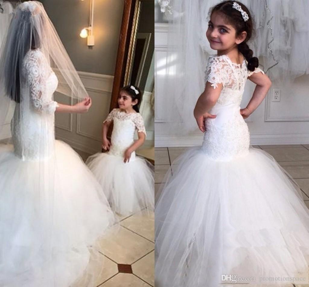 2020 merletto bianco ragazze di fiore Vestiti da matrimonio bellezza maniche corte ragazza della sirena di compleanno del partito del vestito tromba Little Girls Pageant Wear