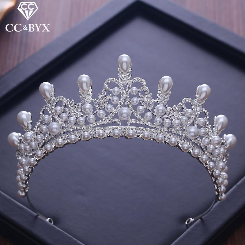 Cc Tiaras And Crowns Luxury Cz Pearl Princess Pageant Engagement Wedding Hair Accessories For Bridal Jewelry Shine Crystal Xy056 T190620
