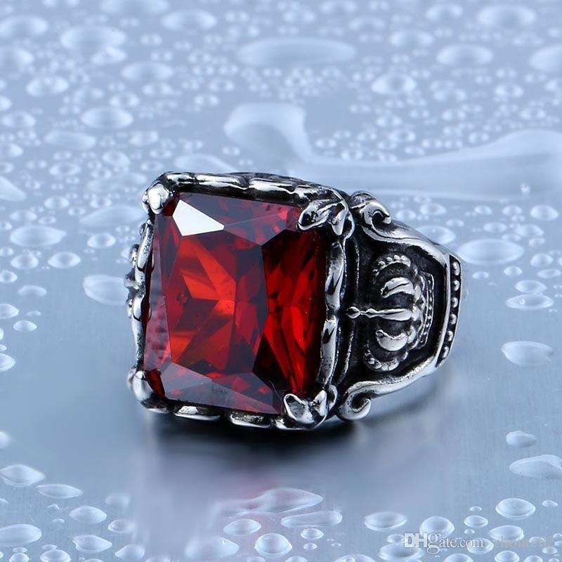 Jingyang Багровый Big Stone Ring Mens нержавеющей стали Мужчины Классический Dragon Claw Punk Rock Jewelry кольцо Мужская Initial кольцо
