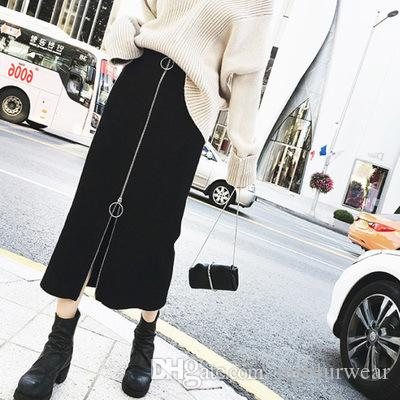 Femmes New Fashion Jupe Jupes Robes Rue Zipper taille haute Casual Une ligne Jupes Slim Taille Plus longue jupe portefeuille Butt