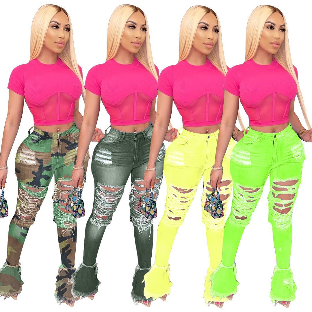 2021 Designr Stacked Jeans Jeans Pumpsuits Support Plus Plus Размер Брюки Flare Нижние Женщины Мода Разорванные джинсовые Оптом DropshPpping
