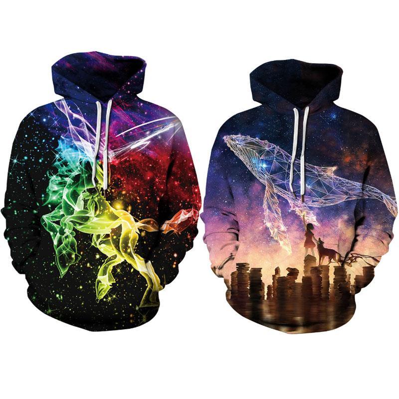 Nouveau d'homme Sweats à capuche extensible Sweat-shirts Rap Hip Hop overs Vêtements de sport Couples Impression 3D avec S-XXXL H36